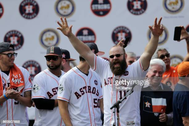 Evan Gattis of the Houston Astros is introduced during the Houston Astros Victory Parade on November 3 2017 in Houston Texas The Astros defeated the...