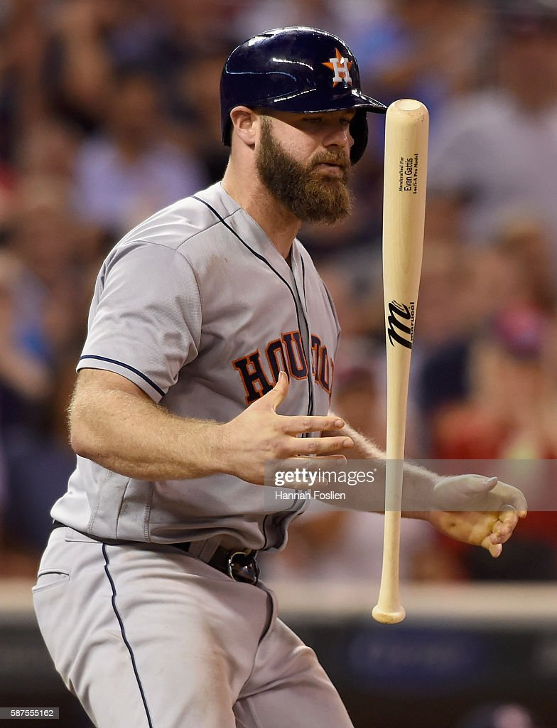 Evan Gattis #11 of the Houston Astros reacts to striking out against the Minnesota Twins to end the game on August 8, 2016 at Target Field in Minneapolis, Minnesota. The Twins defeated the Astros 3-1.