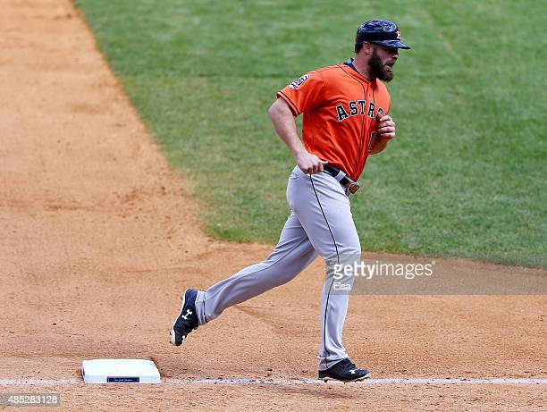 Evan Gattis of the Houston Astros rounds third base after his home run in the eighth inning against the New York Yankees on August 26, 2015 at Yankee...