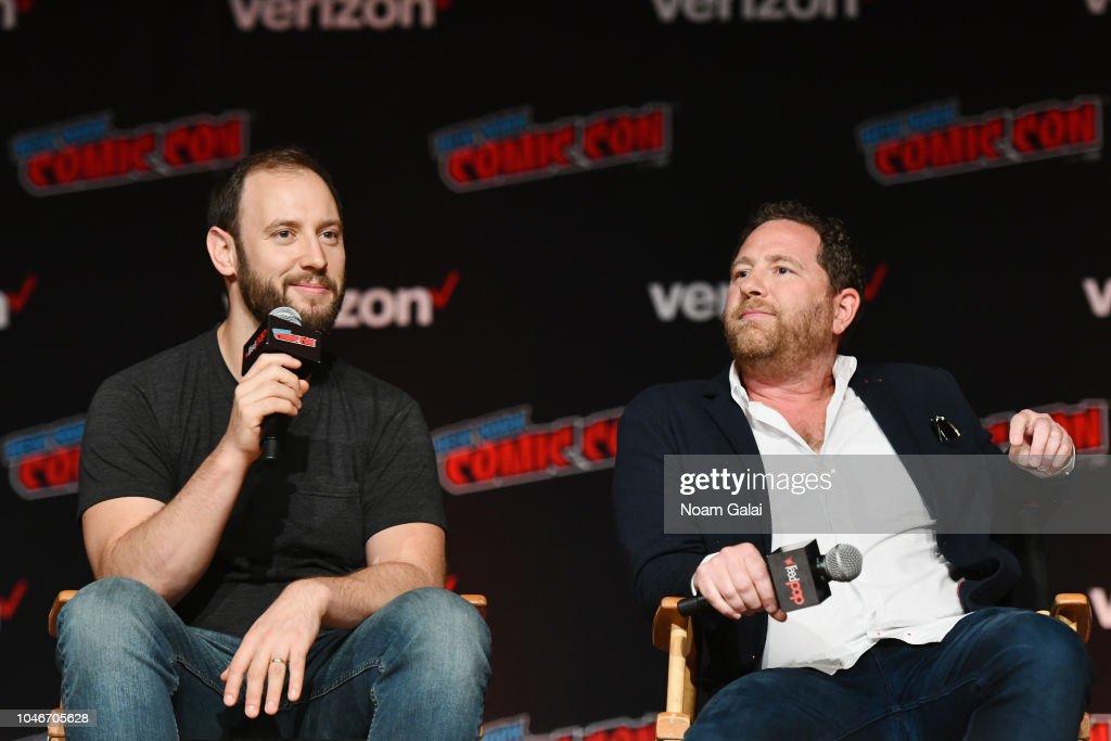 Evan Goldberg and Ben Karlin speak onstage during Hulu and Seth