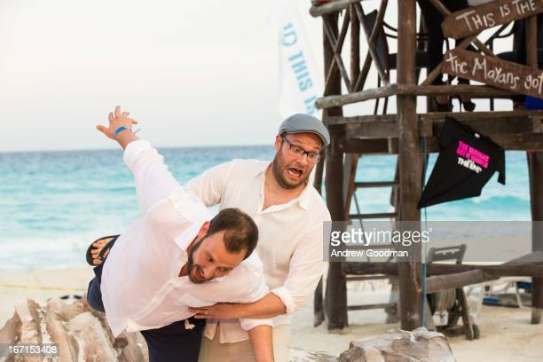 """Evan Goldberg and Seth Rogen attend the """"This Is The End"""" photo call at the 5th annual Summer of Sony at the Ritz Carlton Hotel on April 21, 2013 in..."""