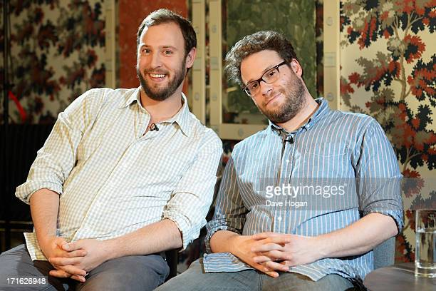 Evan Goldberg and Seth Rogen pose for a photocall for 'This Is The End' at The Soho Hotel on June 24 2013 in London England