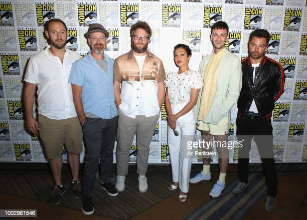 Evan Goldberg Sam Catlin Seth Rogen Ruth Negga Joe Gilgun and Dominic Cooper attend the 'Preacher' autograph signing and panel with AMC during...