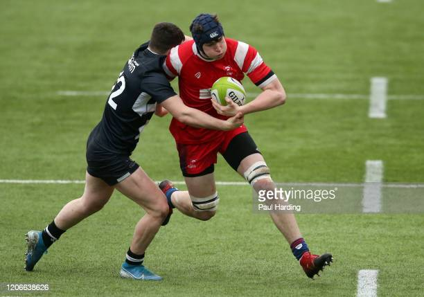 Evan Greenlaw of Newcastle Falcons and George Taylor of Bristol Bears during the Newcastle Falcons v Bristol Bears fifth sixth place playoff match at...
