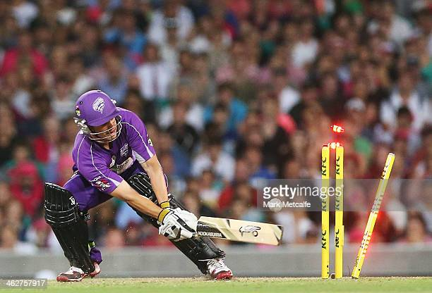 Evan Gulbis of the Hurricanes is bowled by Josh Hazlewood of the Sixers during the Big Bash League match between the Sydney Sixers and the Hobart...