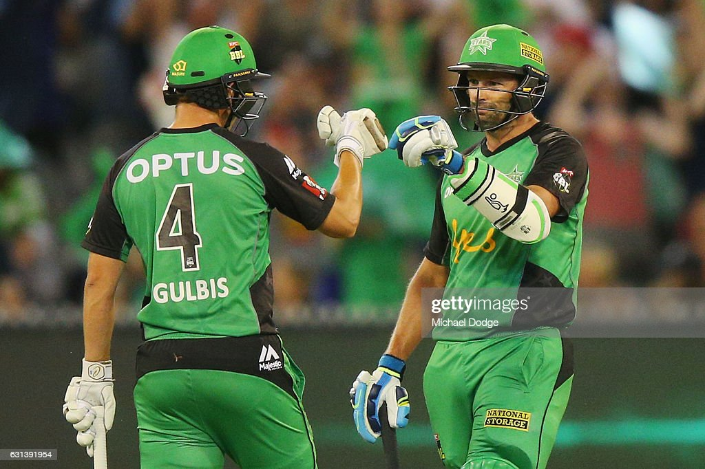 Evan Gulbis of the Stars (L) and Ben Hilfenhaus of the Stars celebrate a boundary during the Big Bash League match between the Melbourne Stars and the Adelaide Strikers at Melbourne Cricket Ground on January 10, 2017 in Melbourne, Australia.
