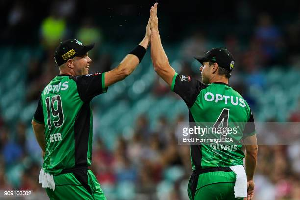 Evan Gulbis of the Stars celebrates taking a catch to dismiss Daniel Hughes of the Sixers during the Big Bash League match between the Sydney Sixers...