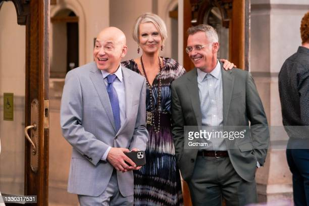 """Evan Handler, Cynthia Nixon and David Eigenberg are seen filming """"And Just Like That..."""" the follow up series to """"Sex and the City"""" in Midtown on..."""