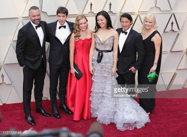 Evan Hayes Alex Honnold Sanni McCandless Elizabeth Chai Vasarhelyi Jimmy Chin and Shannon Dill attend the 91st Annual Academy Awards at Hollywood and...