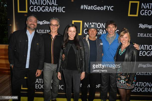 Evan Hayes Marco Beltrami Chai Vasarhelyi Jimmy Chin Alex Honnold and Sanni McCandless attend National Geographic's Contenders Showcase at The Greek...
