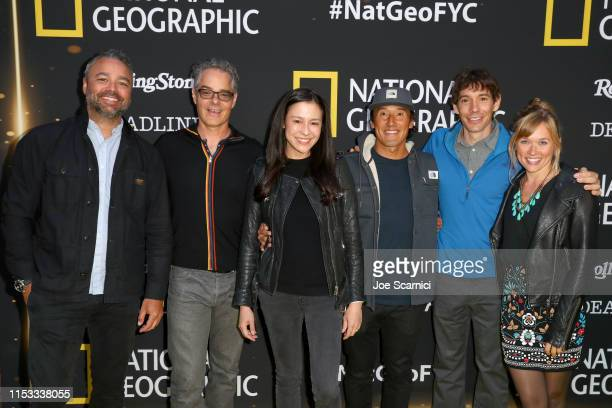 Evan Hayes Marco Beltrami Elizabeth Chai Vasarhelyi Jimmy Chin Alex Honnold and Sanni McCandless attend National Geographic's Contenders Showcase at...