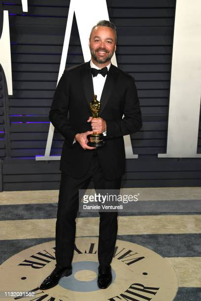 Evan Hayes winner of Best Documentary Feature award for 'Free Solo' attend 2019 Vanity Fair Oscar Party Hosted By Radhika Jones at Wallis Annenberg...