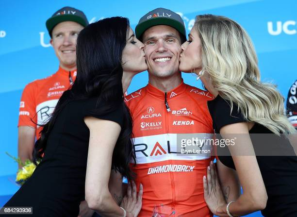 Evan Huffman of the USA and the Rally Cycling team stands on the podium after winning stage four of the AMGEN Tour of California from Santa Barbara...