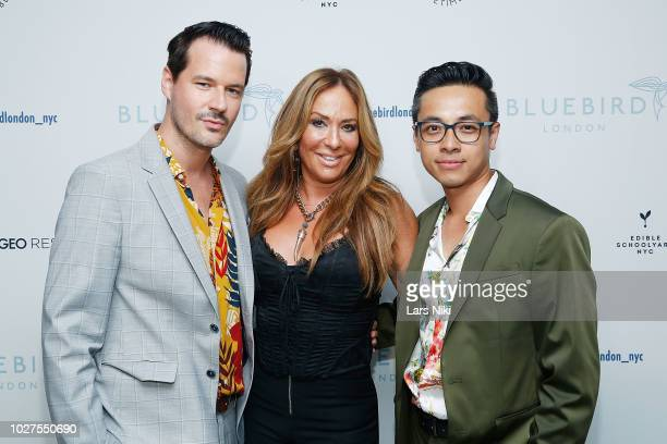 Evan Hungate, Barbara Kavovit and Jason Nguyen attend the Bluebird London New York City launch party at Bluebird London on September 5, 2018 in New...