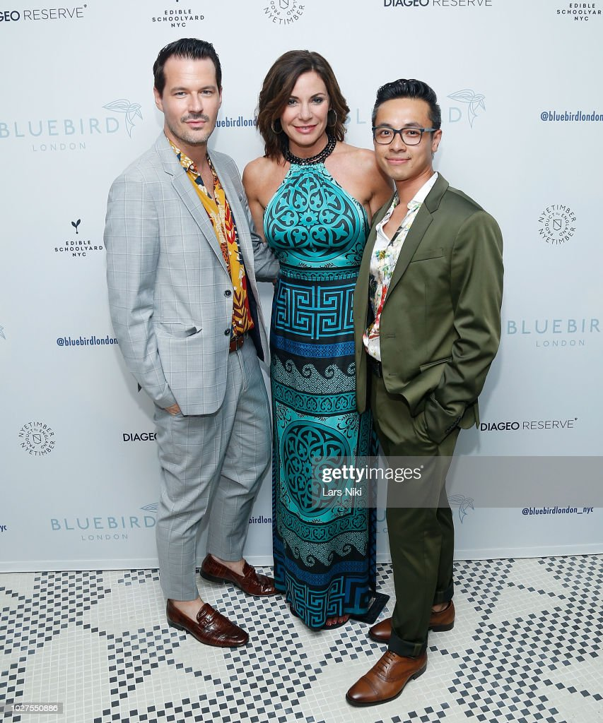 Evan Hungate, Luann de Lesseps and Jason Nguyen attend the Bluebird London New York City launch party at Bluebird London on September 5, 2018 in New York City.