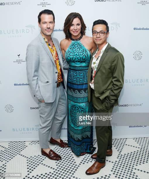 Evan Hungate, Luann de Lesseps and Jason Nguyen attend the Bluebird London New York City launch party at Bluebird London on September 5, 2018 in New...