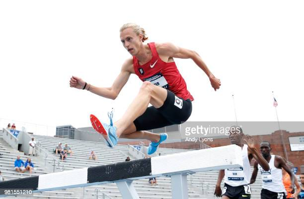 Evan Jager competes in the Mens 3,000 Meter Steeplechase during day 2 of the 2018 USATF Outdoor Championships at Drake Stadium on June 22, 2018 in...