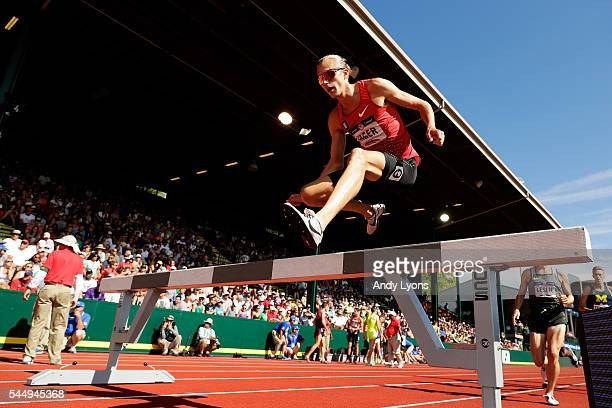 Evan Jager competes in the Men's 3000 Meter Steeplechase during the 2016 U.S. Olympic Track & Field Team Trials at Hayward Field on July 4, 2016 in...