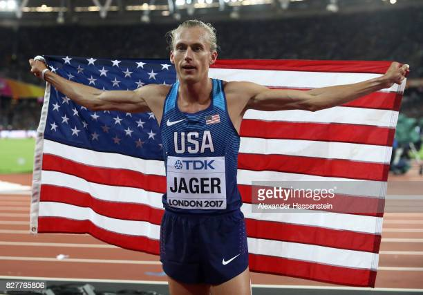 Evan Jager of the United States celebrates after winning bronze in the Men's 3000 metres Steeplechase final during day five of the 16th IAAF World...