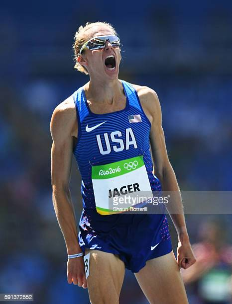 Evan Jager of the United States celebrates winning the silver medal in the Men's 3000m Steeplechase Final on Day 12 of the Rio 2016 Olympic Games at...