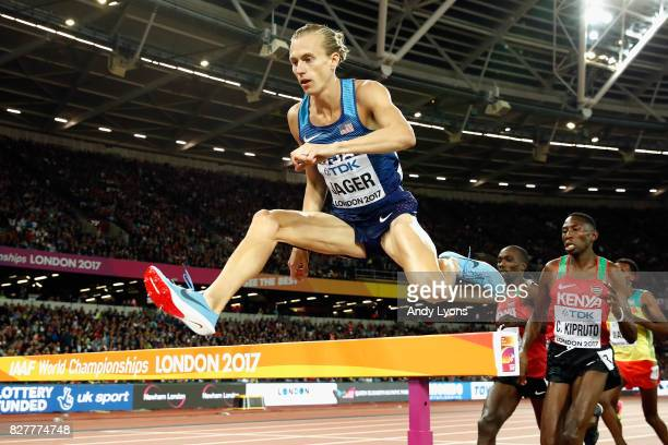 Evan Jager of the United States competes in the Men's 3000 metres Steeplechase final during day five of the 16th IAAF World Athletics Championships...