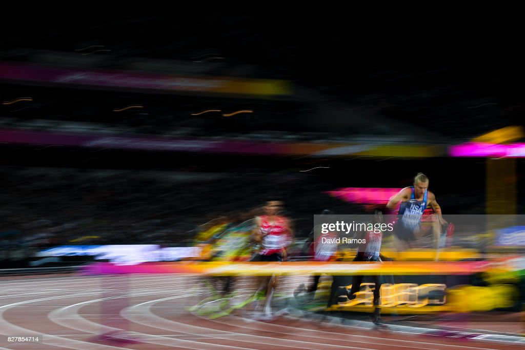 Evan Jager of the United States competes in the Men's 3000 metres Steeplechase final during day five of the 16th IAAF World Athletics Championships London 2017 at The London Stadium on August 8, 2017 in London, United Kingdom.