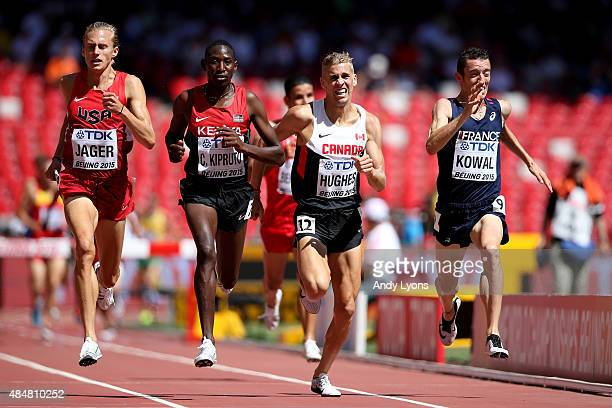 Evan Jager of the United States, Conseslus Kipruto of Kenya, Matthew Hughes of Canada and Yoann Kowal of France compete in the Men's 3000 metres...