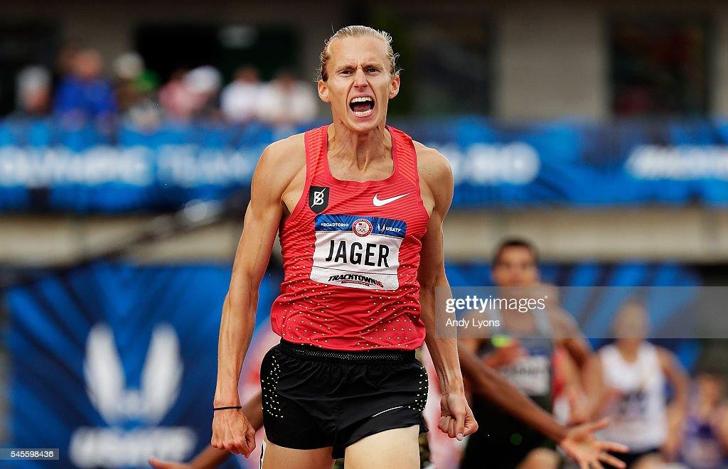 Evan Jager reacts as he crosses the finishline to place first in the Men's 3000 Meter Steeplechase Final during the 2016 U.S. Olympic Track & Field Team Trials at Hayward Field on July 8, 2016 in Eugene, Oregon.
