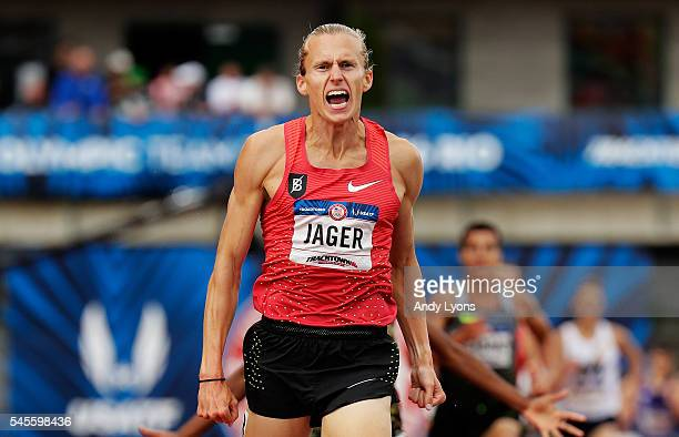 Evan Jager reacts as he crosses the finishline to place first in the Men's 3000 Meter Steeplechase Final during the 2016 US Olympic Track Field Team...