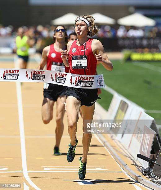 Evan Jager runs to victory in the Men's 3000 Meter Steeplechase on day 5 of the USATF Outdoor Championships at Hornet Stadium on June 29, 2014 in...