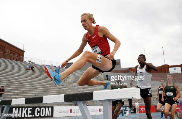 Evan Jager runs to victory in the Mens Steeplechase Final during day 4 of the 2018 USATF Outdoor Championships at Drake Stadium on June 24, 2018 in...