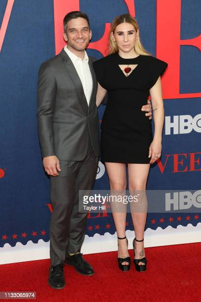 """Evan Jonigkeit and Zosia Mamet attend the premiere of the final season of """"Veep"""" at Alice Tully Hall on March 26, 2019 in New York City."""