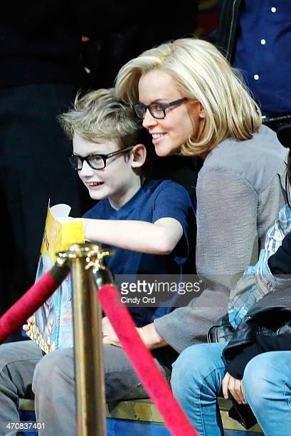 Evan Joseph Asher and Jenny McCarthy attend Ringling Bros and Barnum Bailey presents Legends at Barclays Center of Brooklyn on February 20 2014 in...