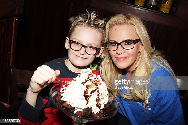 Evan Joseph Asher and mother Jenny McCarthy visit Buca di Beppo in Times Square on April 5 2013 in New York City