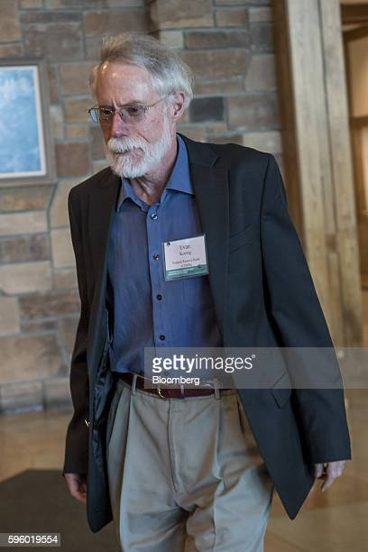 Evan Koenig senior economist of the Federal Reserve Bank of Dallas arrives for a western themed dinner during the Jackson Hole economic symposium...