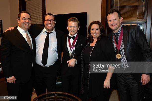 Evan Lamberg and Kent Earls of UMPG Nashville Singer and Cosongwriter Hunter Hayes Cyndi Forman of UMPG Nashville and Cosongwriter Troy Verges attend...