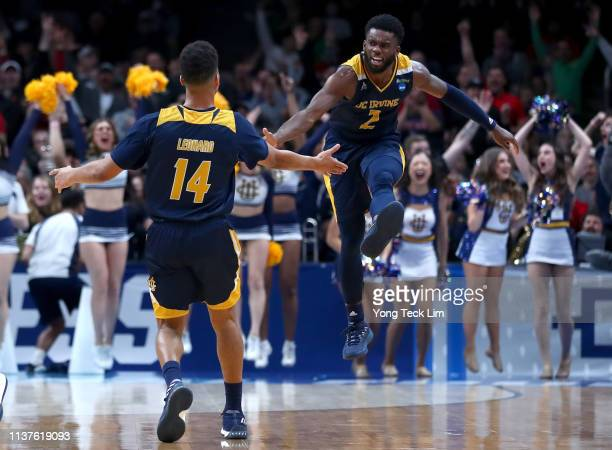 Evan Leonard of the UC Irvine Anteaters celebrates a threepoint shot with Max Hazzard in the second half against the Kansas State Wildcats during the...