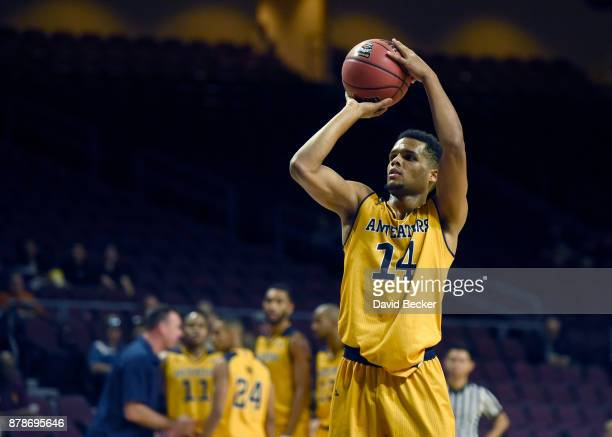 Evan Leonard of the UC Irvine Anteaters shoots a technical foul against the Northern Arizona Lumberjacks during the 2017 Continental Tire Las Vegas...