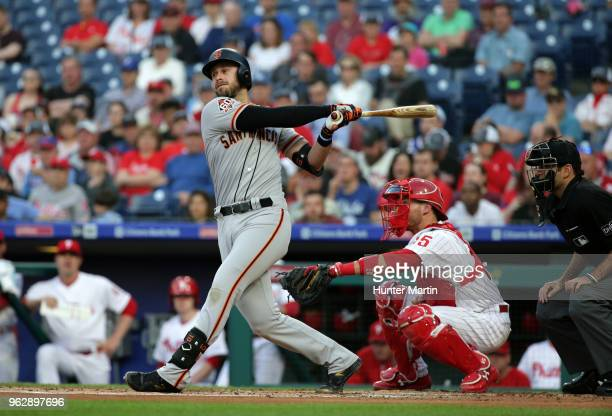 Evan Longoria of the San Francisco Giants bats during a game against the Philadelphia Phillies at Citizens Bank Park on May 9 2018 in Philadelphia...