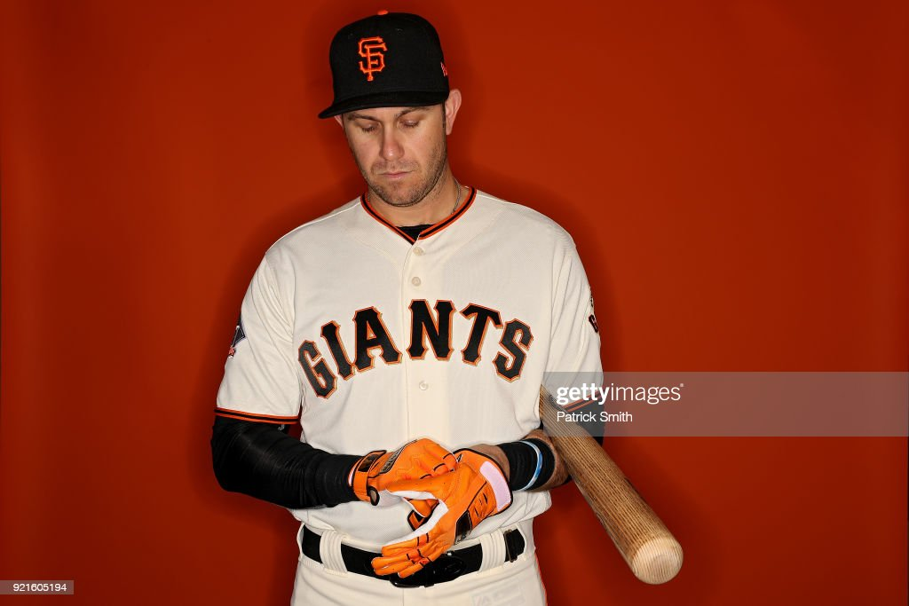 Evan Longoria #10 of the San Francisco Giants poses on photo day during MLB Spring Training at Scottsdale Stadium on February 20, 2018 in Scottsdale, Arizona.