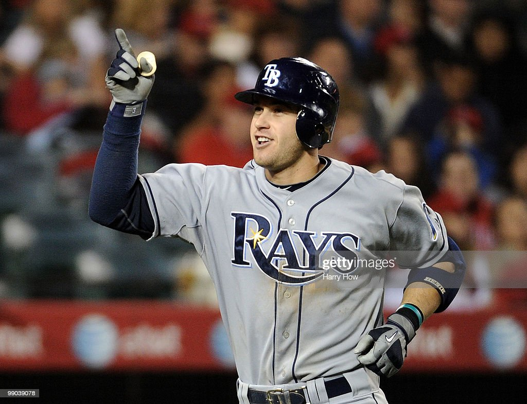 Evan Longoria #3 of the Tampa Bay Rays celebrates his three run homerun for a 6-0 lead over the Los Angeles Angels during the seventh inning at Angels Stadiium on May 11, 2010 in Anaheim, California.