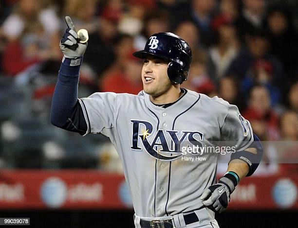 Evan Longoria of the Tampa Bay Rays celebrates his three run homerun for a 60 lead over the Los Angeles Angels during the seventh inning at Angels...
