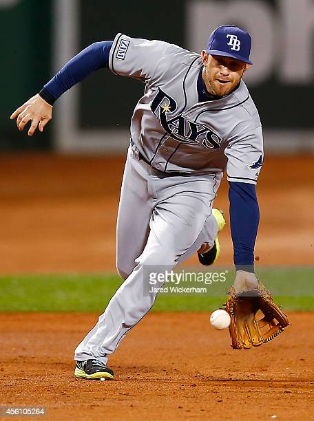 Evan Longoria of the Tampa Bay Rays fields a ground ball in the second inning against the Boston Red Sox during the game at Fenway Park on September...
