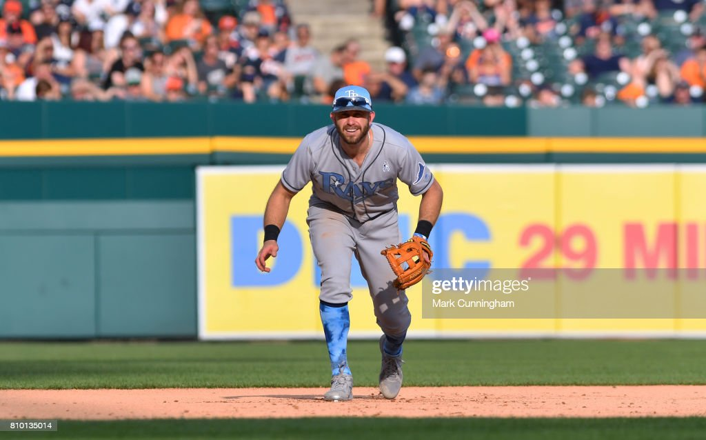 Evan Longoria #3 of the Tampa Bay Rays fields during the game against the Detroit Tigers while wearing a special blue jersey, socks and hat for prostate cancer awareness on Father's Day Weekend at Comerica Park on June 17, 2017 in Detroit, Michigan. The Rays defeated the Tigers 3-2.