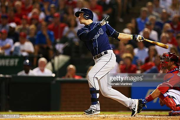 Evan Longoria of the Tampa Bay Rays hits a tworun home run against the Texas Rangers in the third inning of the American League Wild Card tiebreaker...