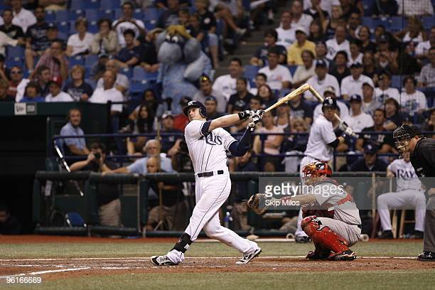 Evan Longoria of the Tampa Bay Rays hits against the Boston Red Sox at Tropicana Field on August 5, 2009 in St. Petersburg, Florida.