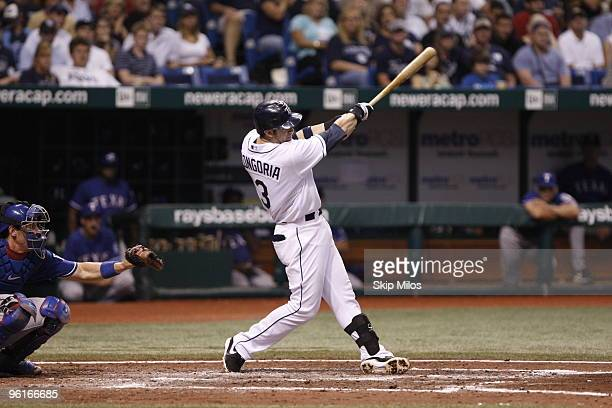 Evan Longoria of the Tampa Bay Rays hits against the Texas Rangers at Tropicana Field on August 22 2009 in St Petersburg Florida