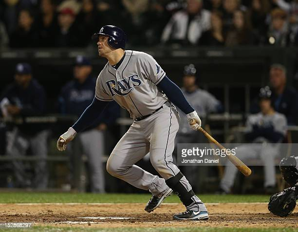 Evan Longoria of the Tampa Bay Rays hits the game winning home run in the 9th inning against the Chicago White Sox at US Cellular Field on September...