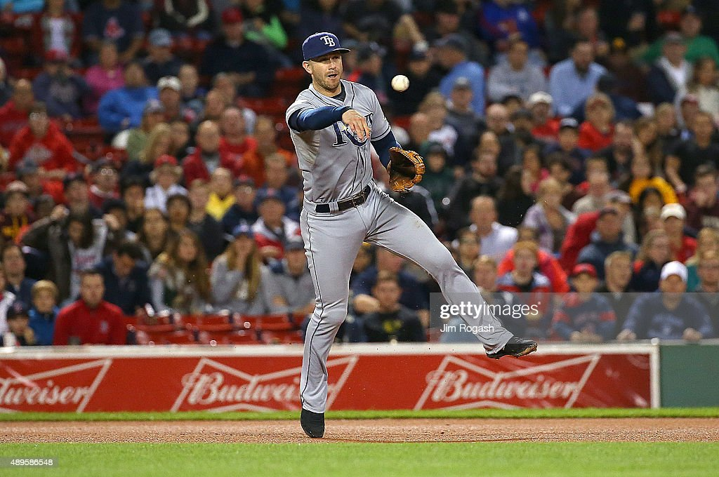 Evan Longoria #3 of the Tampa Bay Rays makes the assist in the sixth inning against the Boston Red Sox at Fenway Park on September 22, 2015 in Boston, Massachusetts.