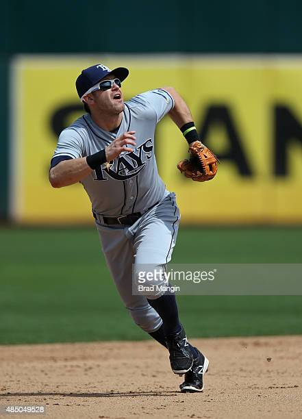 Evan Longoria of the Tampa Bay Rays plays defense at third base against the Oakland Athletics during the game at Oco Coliseum on Sunday August 23...